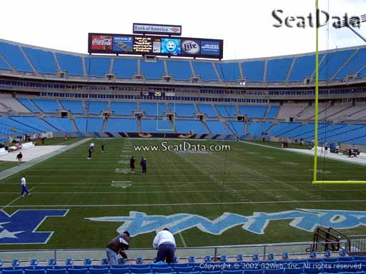 Seat view from section 102 at Bank of America Stadium, home of the Carolina Panthers
