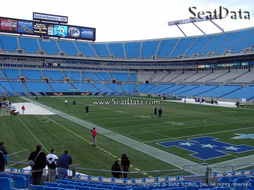 Seat view from section 105 at Bank of America Stadium, home of the Carolina Panthers