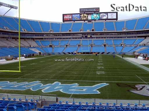 Seat view from section 120 at Bank of America Stadium, home of the Carolina Panthers