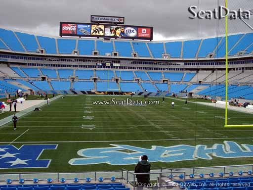 Seat view from section 122 at Bank of America Stadium, home of the Carolina Panthers