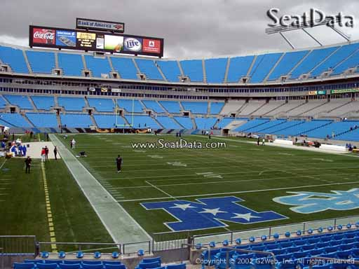 Seat view from section 124 at Bank of America Stadium, home of the Carolina Panthers