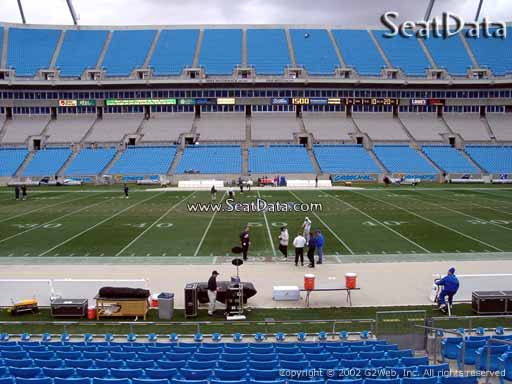 Seat view from section 132 at Bank of America Stadium, home of the Carolina Panthers