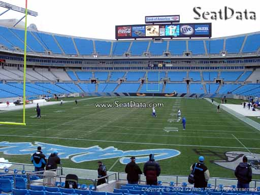 Seat view from section 140 at Bank of America Stadium, home of the Carolina Panthers