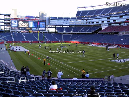 Seat view from section 101 at Gillette Stadium, home of the New England Patriots