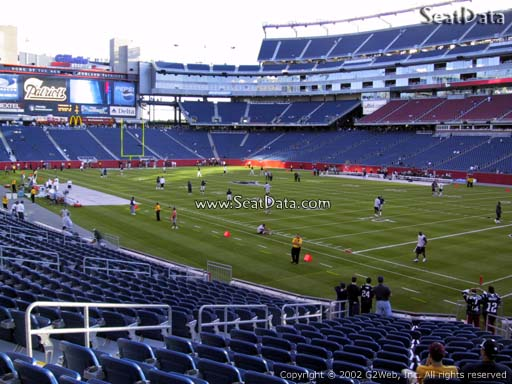 Seat view from section 102 at Gillette Stadium, home of the New England Patriots