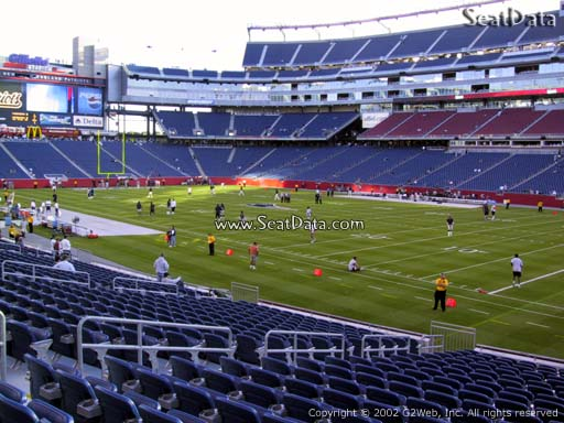Seat view from section 104 at Gillette Stadium, home of the New England Patriots