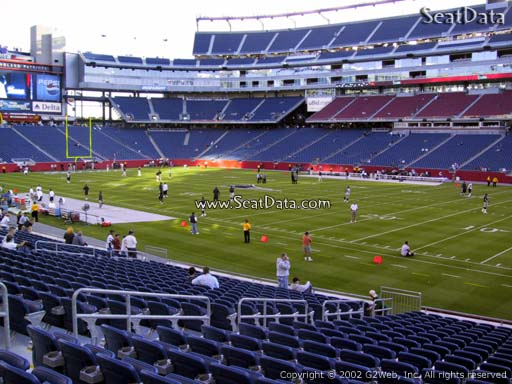 Seat view from section 105 at Gillette Stadium, home of the New England Patriots
