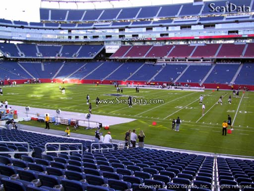 Seat view from section 107 at Gillette Stadium, home of the New England Patriots