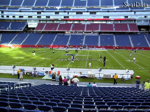 Seat view from section 109 at Gillette Stadium, home of the New England Patriots