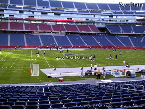 Seat view from section 111 at Gillette Stadium, home of the New England Patriots