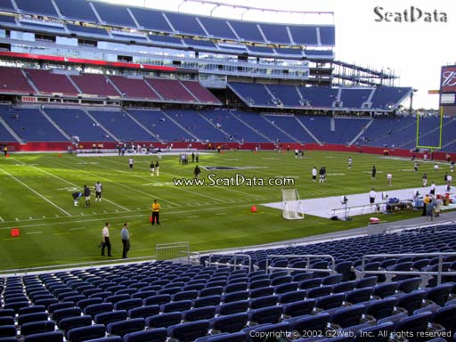 Seat view from section 113 at Gillette Stadium, home of the New England Patriots