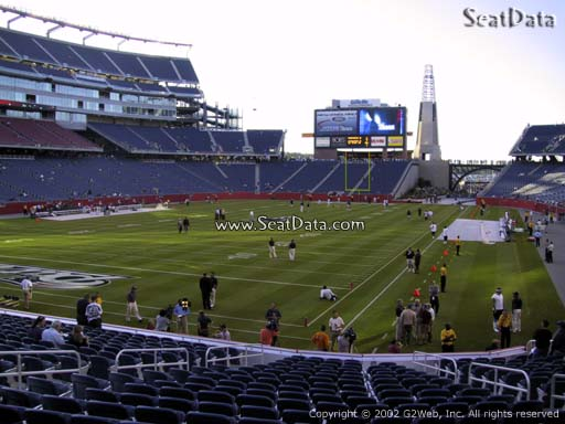 Seat view from section 118 at Gillette Stadium, home of the New England Patriots