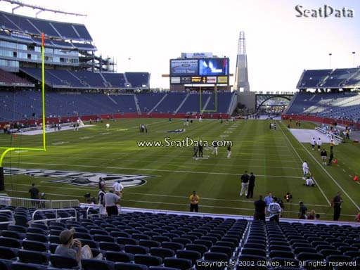 Seat view from section 119 at Gillette Stadium, home of the New England Patriots