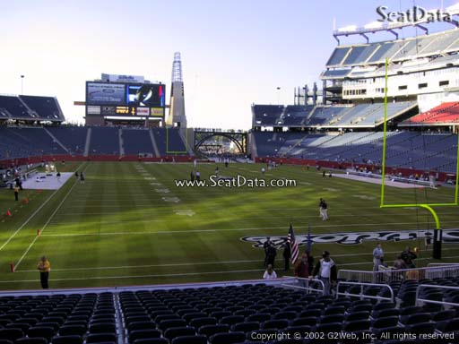 Seat view from section 122 at Gillette Stadium, home of the New England Patriots
