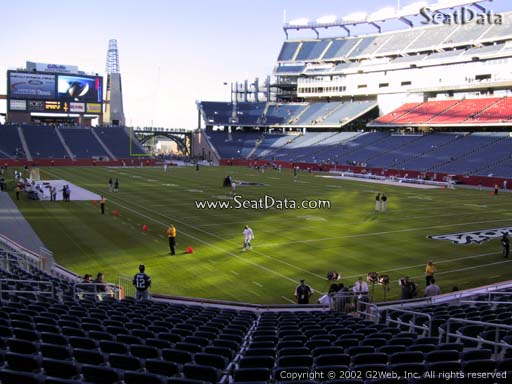 Seat view from section 124 at Gillette Stadium, home of the New England Patriots