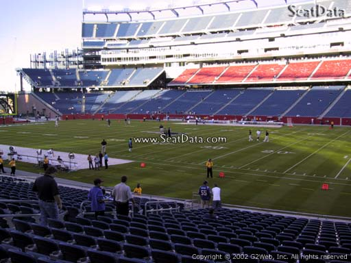 Seat view from section 128 at Gillette Stadium, home of the New England Patriots