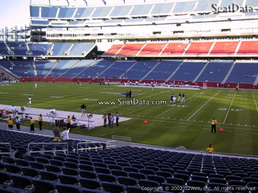 Seat view from section 129 at Gillette Stadium, home of the New England Patriots