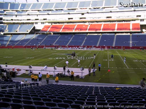 Seat view from section 130 at Gillette Stadium, home of the New England Patriots