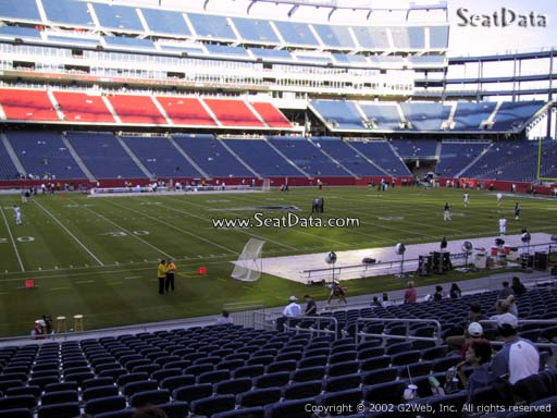 Seat view from section 134 at Gillette Stadium, home of the New England Patriots