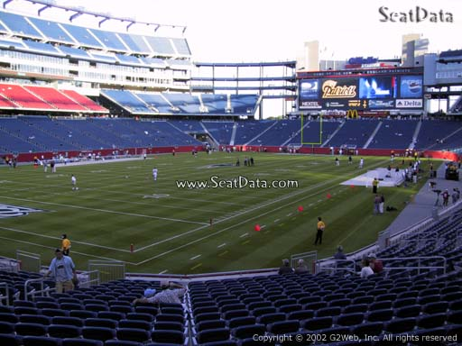 Seat view from section 139 at Gillette Stadium, home of the New England Patriots
