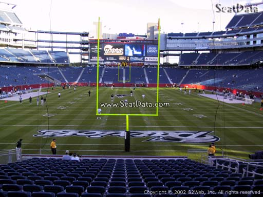 Seat view from section 143 at Gillette Stadium, home of the New England Patriots