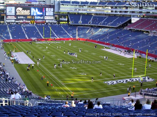 Seat view from section 201 at Gillette Stadium, home of the New England Patriots