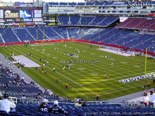 Seat view from section 202 at Gillette Stadium, home of the New England Patriots