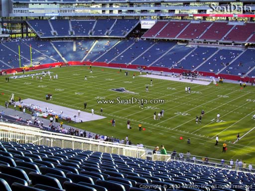 Seat view from section 205 at Gillette Stadium, home of the New England Patriots