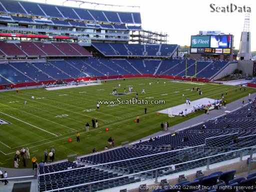 Seat view from section 215 at Gillette Stadium, home of the New England Patriots