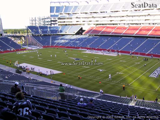 Seat view from section 227 at Gillette Stadium, home of the New England Patriots