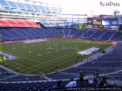 Seat view from section 238 at Gillette Stadium, home of the New England Patriots