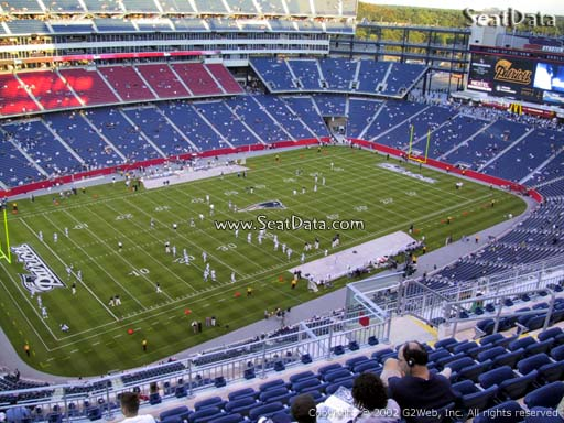 Seat view from section 337 at Gillette Stadium, home of the New England Patriots