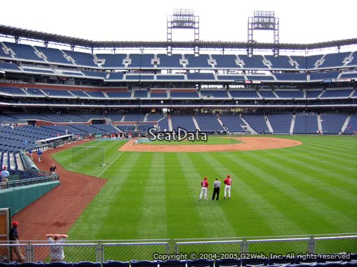 Seat view from section 106 at Citizens Bank Park, home of the Philadelphia Phillies