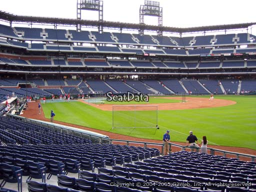 Seat view from section 109 at Citizens Bank Park, home of the Philadelphia Phillies