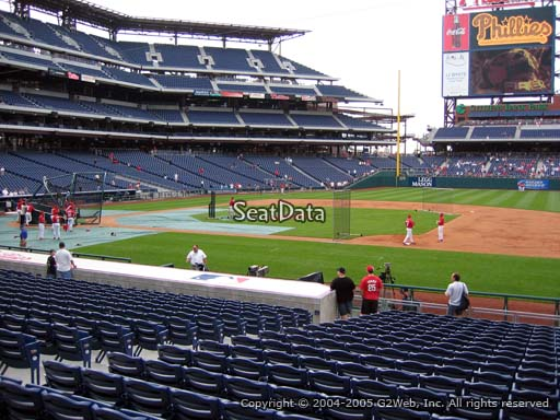 Seat view from section 115 at Citizens Bank Park, home of the Philadelphia Phillies