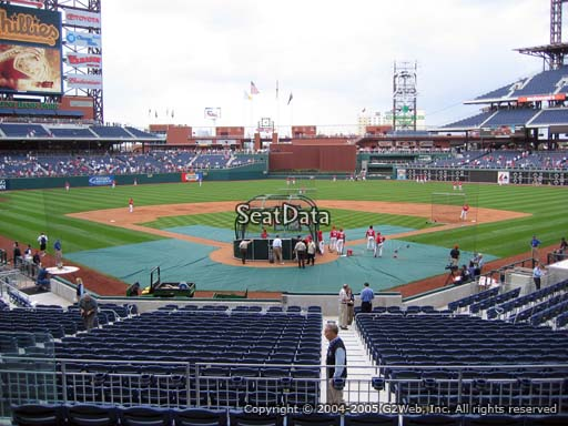 Seat view from section 123 at Citizens Bank Park, home of the Philadelphia Phillies