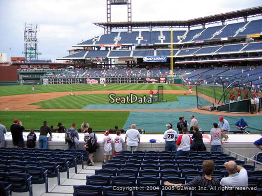 Seat view from section 129 at Citizens Bank Park, home of the Philadelphia Phillies