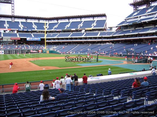 Seat view from section 132 at Citizens Bank Park, home of the Philadelphia Phillies