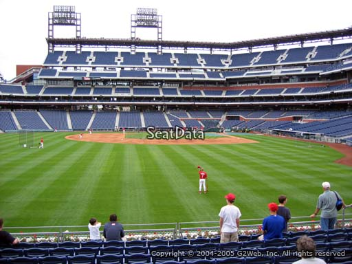 Seat view from section 143 at Citizens Bank Park, home of the Philadelphia Phillies