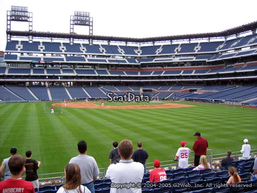 Seat view from section 145 at Citizens Bank Park, home of the Philadelphia Phillies