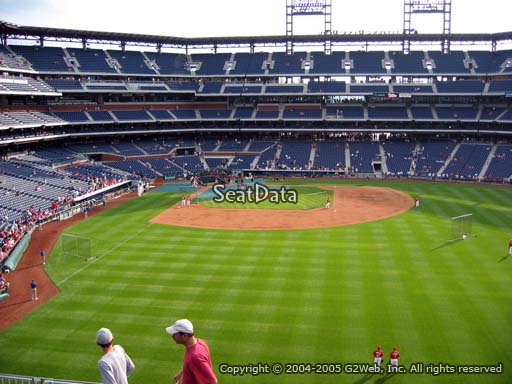 Seat view from section 203 at Citizens Bank Park, home of the Philadelphia Phillies