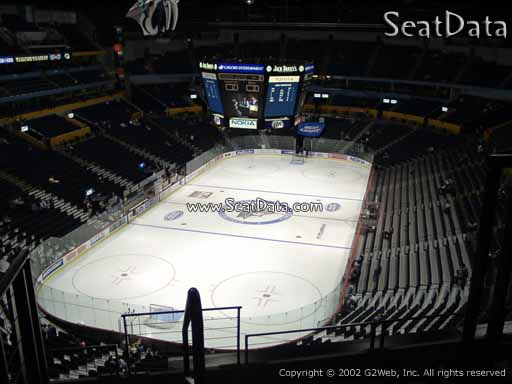 Seat view from section 203 at Bridgestone Arena, home of the Nashville Predators