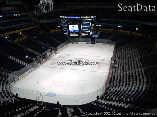 Seat view from section 302 at Bridgestone Arena, home of the Nashville Predators