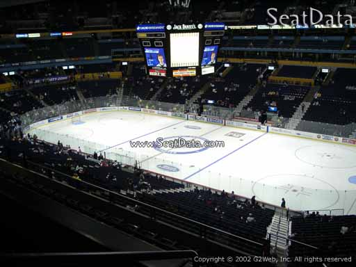Seat view from section 313 at Bridgestone Arena, home of the Nashville Predators