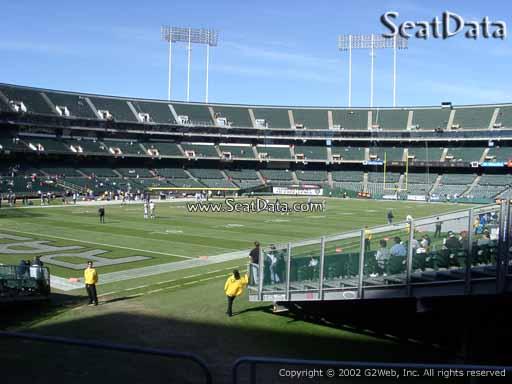 Seat view from section 101 at Oakland Coliseum, home of the Oakland Raiders.