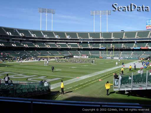 Seat view from section 102 at Oakland Coliseum, home of the Oakland Raiders