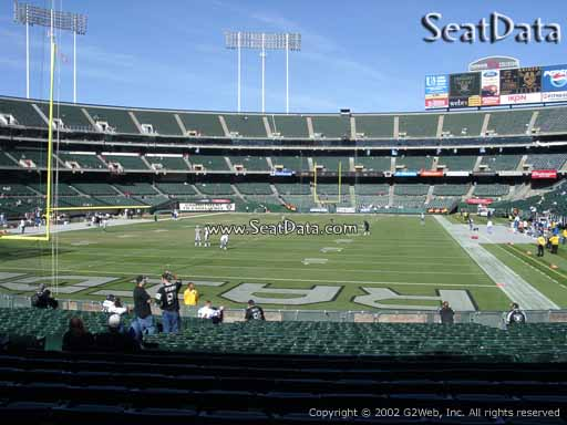 Seat view from section 104 at Oakland Coliseum, home of the Oakland Raiders
