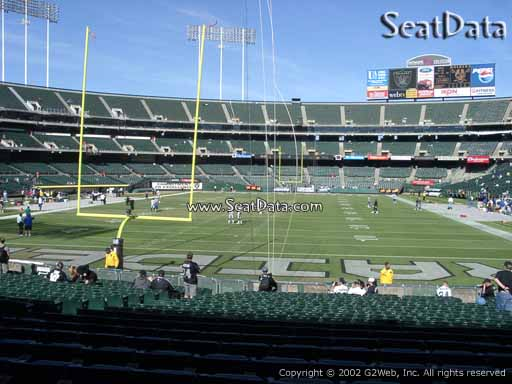 Seat view from section 105 at Oakland Coliseum, home of the Oakland Raiders