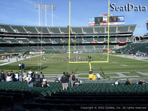 Seat view from section 106 at Oakland Coliseum, home of the Oakland Raiders