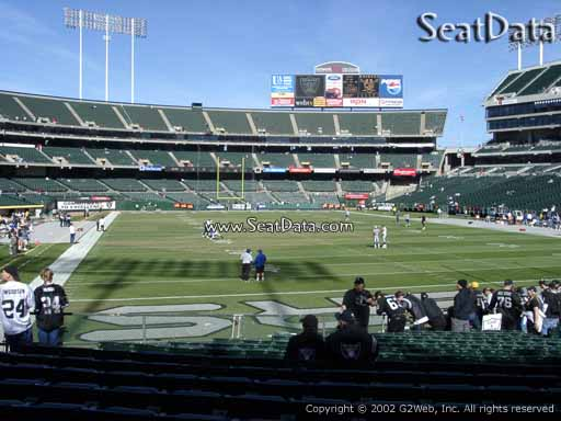 Seat view from section 108 at Oakland Coliseum, home of the Oakland Raiders